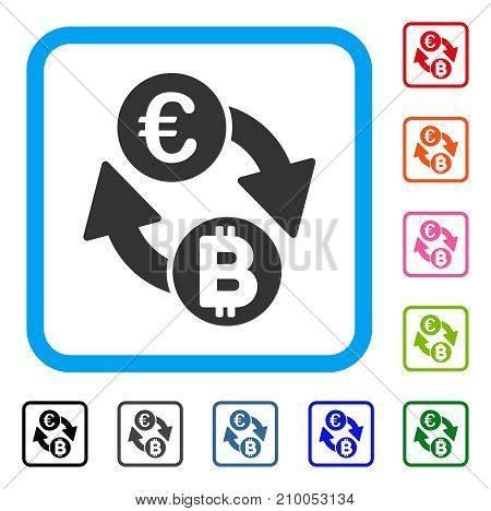 Euro Bitcoin Exchange Coins icon. Flat gray pictogram symbol inside a light blue rounded squared frame. Black, gray, green, blue, red,