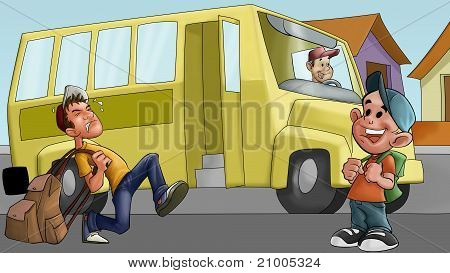 Little Boy And Schoolbus
