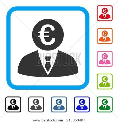 Euro Clerk icon. Flat grey iconic symbol in a light blue rounded rectangular frame. Black, gray, green, blue, red, orange color variants of Euro Clerk vector. Designed for web and software interfaces.