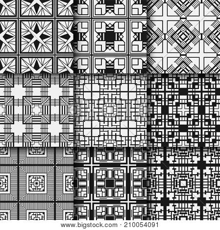 Golden Seamless Patterns Set In Art Deco Style. Template For Design. Vector Illustration Eps10