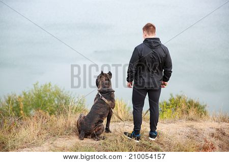 A big dark pitbull walking with owner outdoors. Cute dog standing near the man. River on the background. Full length of man. Animal concept.