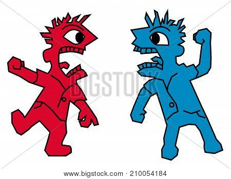Argument two people cartoon, vector illustration horizontal, over white, isolated
