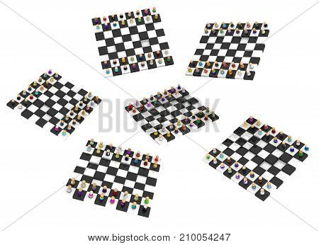 Crowd of small symbolic figures chessboards 3d illustration horizontal isolated over white