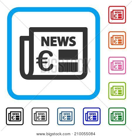 Euro Newspaper icon. Flat gray pictogram symbol in a light blue rounded squared frame. Black, gray, green, blue, red, orange color versions of Euro Newspaper vector.