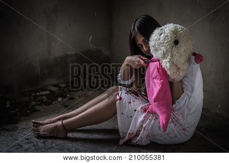 Zombie Or Ghost Holding Knife Kill Baby Doll