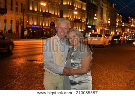 Portrait of lovely happy mature couple outdoors