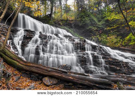 Mohawk Falls is one of several waterfalls in Ganoga Glen at Rickett's Glen State Park New York.