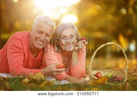 Happy senior couple having picnic  in autumn park