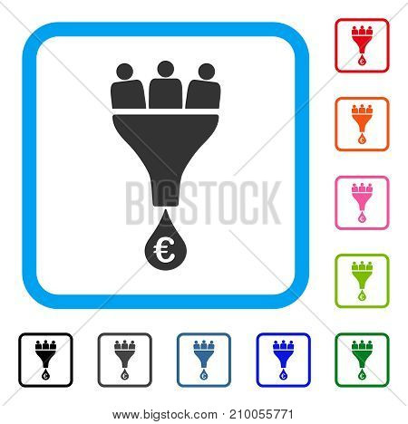 Euro Sales Funnel icon. Flat grey iconic symbol in a light blue rounded square. Black, gray, green, blue, red, orange color versions of Euro Sales Funnel vector. Designed for web and application UI.