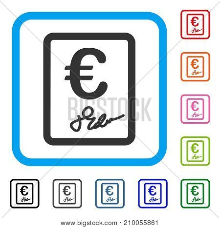 Euro Signed Contract icon. Flat gray iconic symbol inside a light blue rounded rectangle. Black, gray, green, blue, red, orange color additional versions of Euro Signed Contract vector.