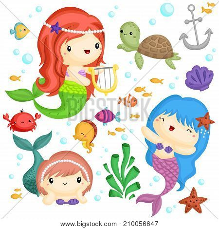 a vector set with sea life and mermaids