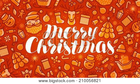 Merry Christmas, xmas greeting card or banner. Holiday concept. Vector