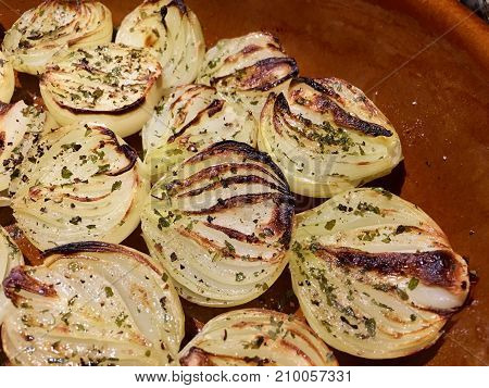 High angle view of grilled onions in a baking dish