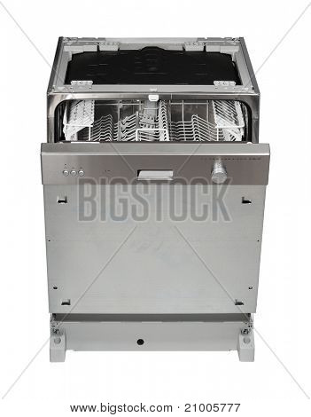 Modern built in dishwasher isolated on white