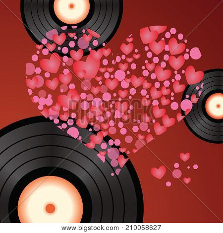 colorful illustration with music heart vinyl on red background