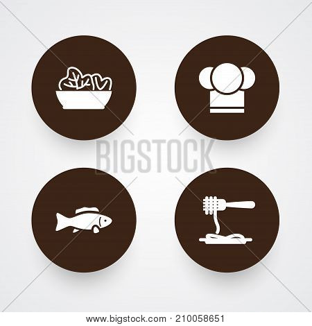 Collection Of Vermicelli, Tuna, Food And Other Elements.  Set Of 4 Bar Icons Set.