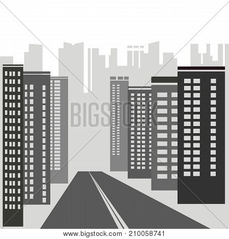 Grey modern skyscrapers silhouettes on white background.