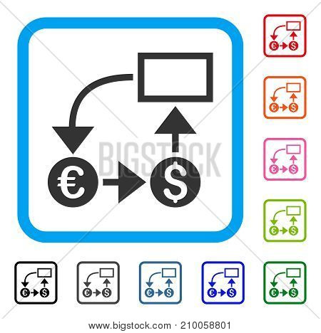 Cashflow icon. Flat grey pictogram symbol inside a light blue rounded rectangle. Black, gray, green, blue, red, orange color versions of Cashflow vector. Designed for web and app interfaces.