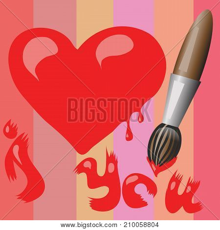 colorful illustration with valentines red heart symbol on colored line pattern