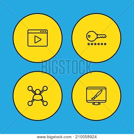 Collection Of Video Marketing, Password, Stock Exchange And Other Elements.  Set Of 4 Optimization Outline Icons Set.