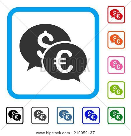 Currency Transactions icon. Flat grey iconic symbol inside a light blue rounded rectangle. Black, gray, green, blue, red, orange color additional versions of Currency Transactions vector.