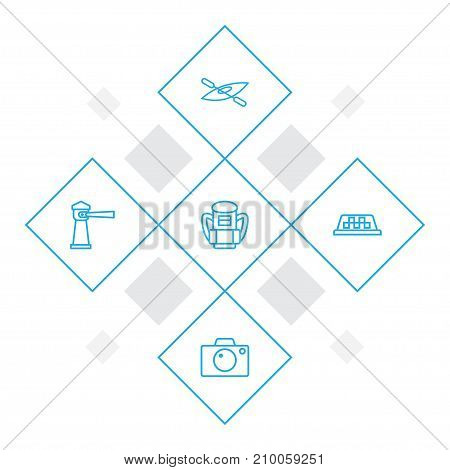 Collection Of Lighthouse, Boat, Photo And Other Elements.  Set Of 5 Travel Outline Icons Set.