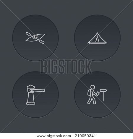 Collection Of Boat, Foreigner, Awning And Other Elements.  Set Of 4 Journey Outline Icons Set.