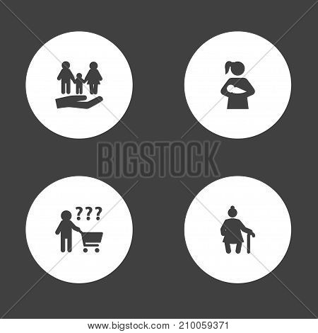 Collection Of Child, Grandma , Insurance Elements.  Set Of 4 Relatives Icons Set.