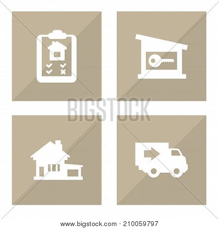 Collection Of Lock, Option, Home And Other Elements.  Set Of 4 Real Icons Set.