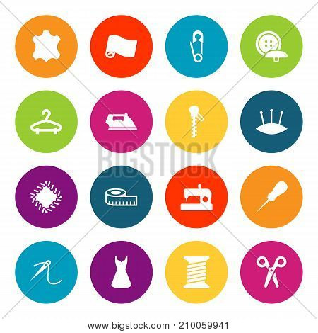 Collection Of Cutter, Skin, Machine And Other Elements.  Set Of 16 Sewing Icons Set.