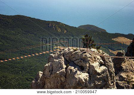 View Suspension Bridge On The Mount Ai-petri In Crimea, Russia.
