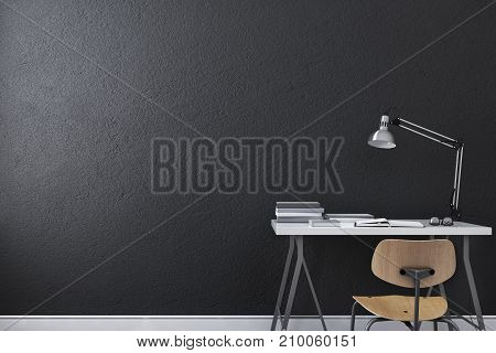 Small modern writing table or desk with lamp, eyeglasses,book and chair at black wall background. 3d rendering