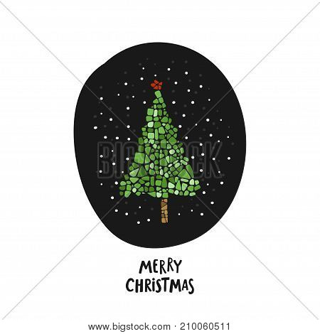 Mosaic Christmas tree. Green Happy New Year tree with hand written lettering Merry Christmas. Design element for poster, greeting card, postcard. Ceramic tile texture.