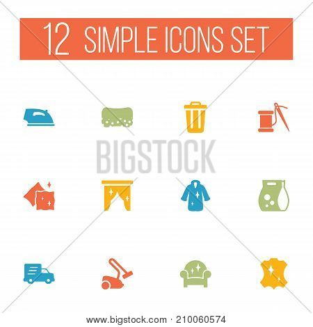 Collection Of Sewing, Washing Powder, Armchair And Other Elements.  Set Of 12 Harvesting Icons Set.