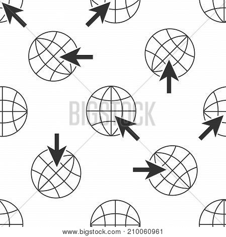 Go To Web icon seamless pattern on white background. Globe and cursor. Website pictogram. World wide web symbol. Internet symbol for your web site design, logo, app. Flat design. Vector Illustration