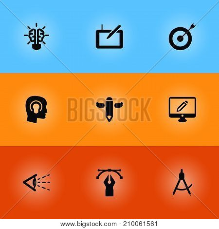 Collection Of Gadget, Look, Compass And Other Elements.  Set Of 9 Constructive Icons Set.