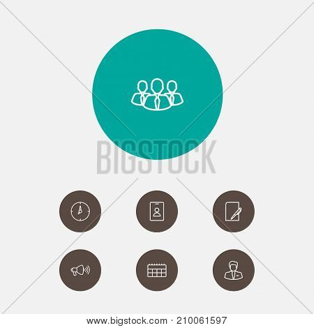 Collection Of Calendar, Businessman, Badge And Other Elements.  Set Of 7 Trade Outline Icons Set.