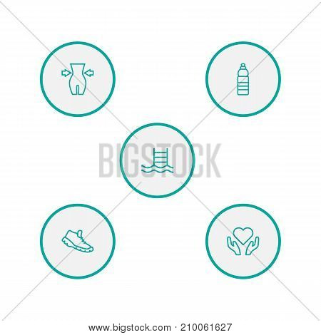 Collection Of Health Care, Pool, Weight Loss And Other Elements.  Set Of 5 Fitness Outline Icons Set.