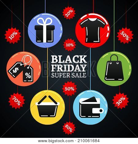 Black friday super sale illustration with shopping