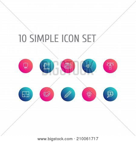 Collection Of Property Plan, Palette, Pencil And Other Elements.  Set Of 10 Constructive Outline Icons Set.