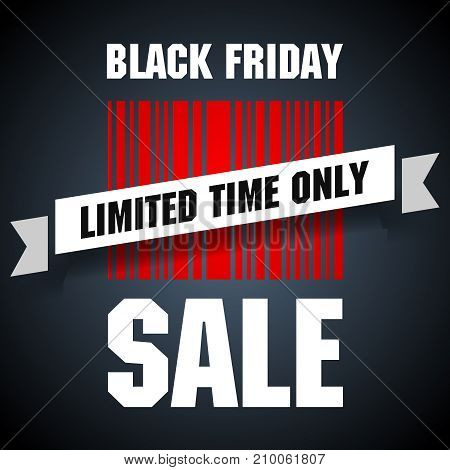 Black friday barcode with limited time sale