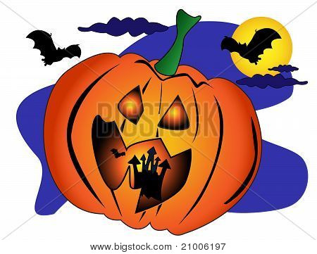 Halloween scene with a big Jack O'Lantern pumpkin with a spooky castle and bats inside. poster