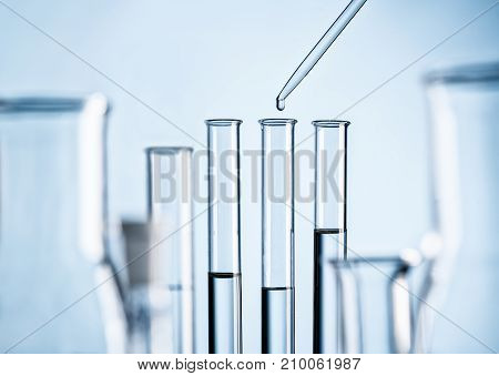 Detail of a laboratory with test tubes pipette and glass flasks
