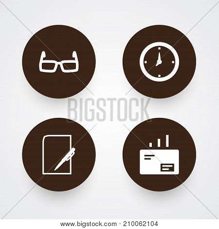 Collection Of Pen, Spectacles, Time And Other Elements.  Set Of 4 Trade Icons Set.