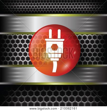 Plug red icon on metal perforated background