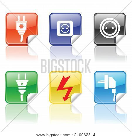 colorful electric icons set isolated on white background
