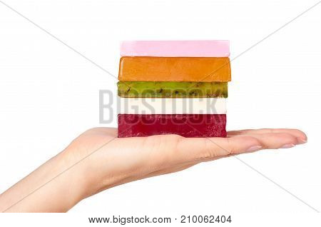 Natural Handmade Soap Bar In Hand Isolated On White Background