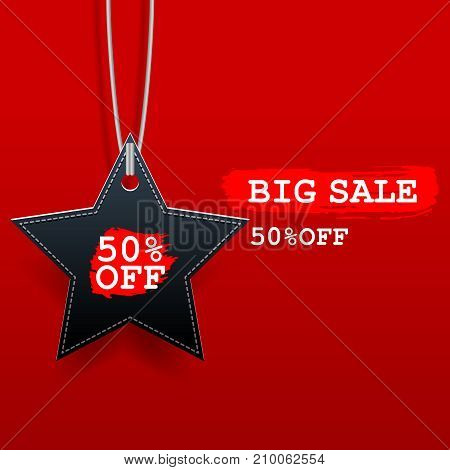 Black friday sale star tag with discount on red background.