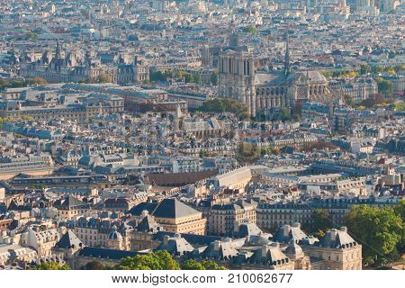 Birdeye view of Paris roofs with Notre Dame cathedral, France