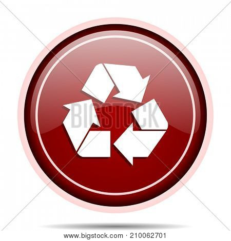 Recycle red glossy round web icon. Circle isolated internet button for webdesign and smartphone applications.